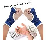 Coppia di 2 fasce elastiche per POLSO e palmo mano supporto per dolori tendinite e sport mezzi guanti. MWS