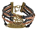 Young & Forever Inspirational Genuine Leather Believe Infinity Bracelet for Women Boys Men B178