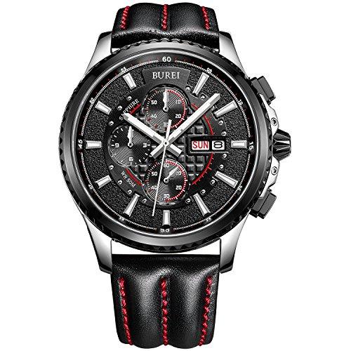 BUREI® Herren-Armbanduhr Chronograph Analog Quarz Lederband Sport Schwarz mit Rot Armbanduhr Unisex Wasserdicht Uhr kratzfeste Uhr