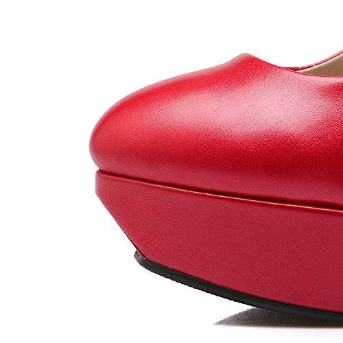 AllhqFashion Damen Schnalle Stiletto PU Leder Rein Rund Zehe Pumps Schuhe Rot