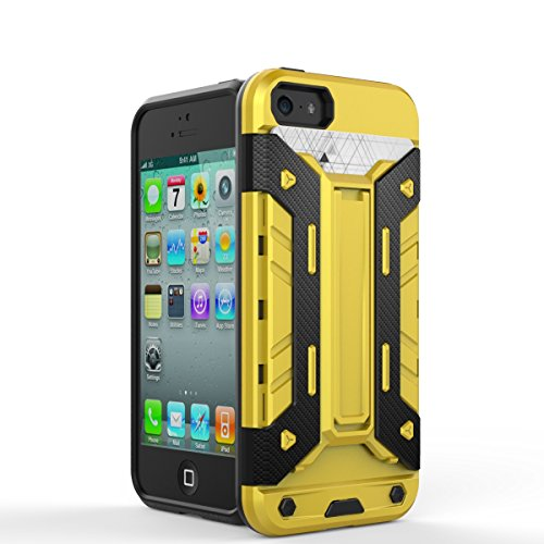 iPhone Case Cover iphone5s se fall 2 in 1 neue rüstung harter stil hybrid dual layer 'verteidiger pc harte fälle mit stehen [stoßfeste fall für iphone5s se] ( Color : Silver , Size : Iphone5s Se ) Yellow