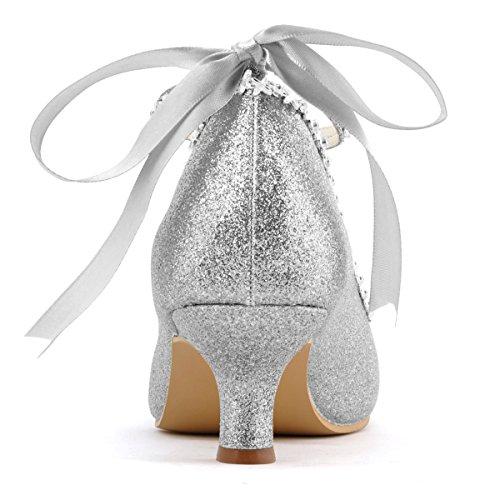 Elegantpark EP31010 PU Punta Rotonda Nastro Tacco Medio Cinturino scarpe a Tacco da sposa Ballo Argento