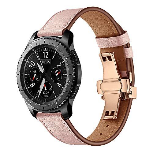 Glowjoy Uhrenarmband 22mm Leder Kompatibel mit Samsung Gear S3,Premium Lederarmband mit Butterfly-Schnalle,Damen Herren Echtleder Wristband Trageschlaufe Geschenke für Freunde (Rosa)