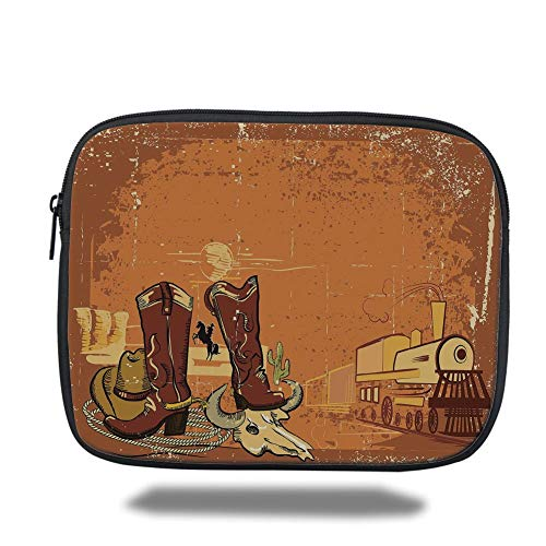 Laptop Sleeve Case,Western,Grungy Display of Locomotive Traditional Boots Animal Skull Rope Hat Decorative,Dark Orange Brown Yellow,Tablet Bag for Ipad air 2/3/4/mini 9.7 inch