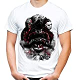 Nightmare Gang Männer und Herren T-Shirt | Freddy Michael Myers Jason Voorhees (XL, Weiß)
