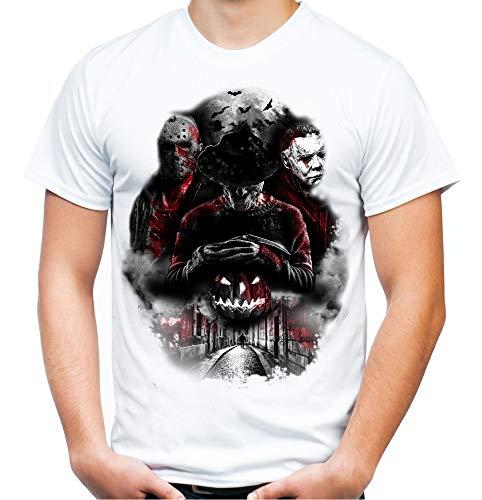 Nightmare Gang Männer und Herren T-Shirt | Freddy Michael Myers Jason Voorhees (XL, Weiß)