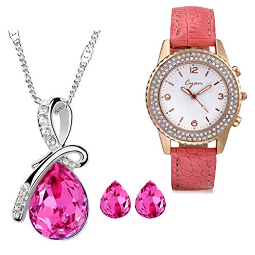 CYAN bow style crystal jewelry set Combo with crystal studded watch  available at amazon for Rs.1049