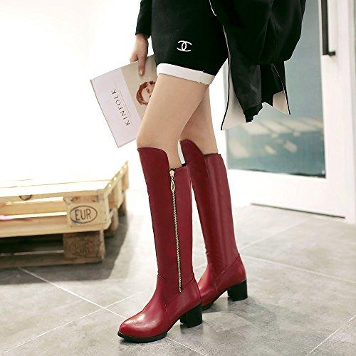 QIN&X Donna punta tonda blocco tacco tacchi lunghi stivali scarpe Red