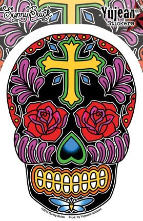 Sunny Buick - Rose Cross Sugar Skull Sticker Decal - 3.75