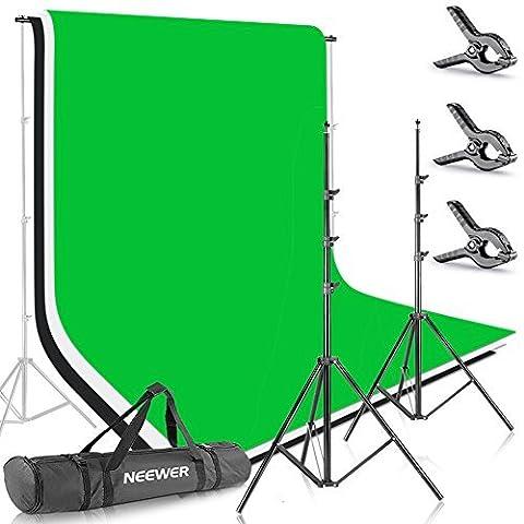 Neewer-85-Ft-10ft26-m-3-m-Antecedentes-Soporte-Soporte-Sistema-con-6-ft-9ft18-m-28-M-teln-de-fondo-blanco-negro-verde-para-retrato-fotografa-de-producto-y-grabacin-de-vdeo