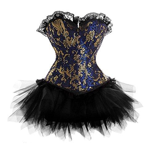 LFFW Lace trim Blume Muster Corset tutu Rock/Damen korsett mit tutu Dress Blau
