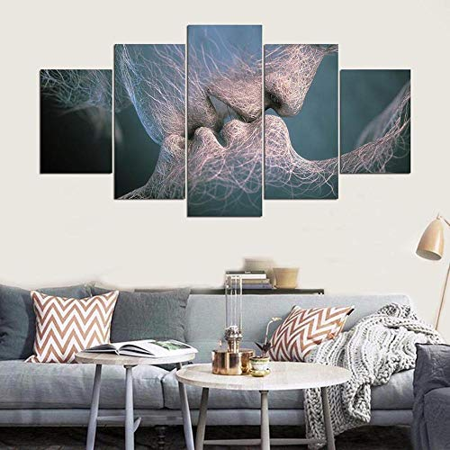 5 Stück HD-Druck Blue Love Kiss Adam und Eva Poster Gemälde auf Leinwand Wand Kunst Wohnzimmer...