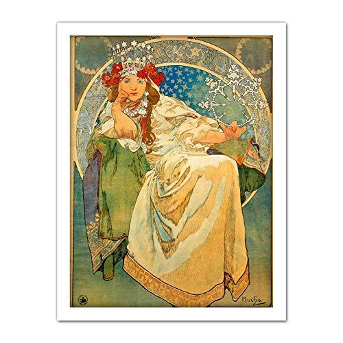 Wee Blue Coo LTD Mucha Princess Hyacinth 1911 Artwork Framed Wall Art Print 18X24 Inch Wand -