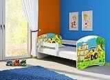Clamaro 'Fantasia Weiß' 160 x 80 Kinderbett Set inkl. Matratze und Lattenrost, mit verstellbarem Rausfallschutz und Kantenschutzleisten, Design: 20 Bagger