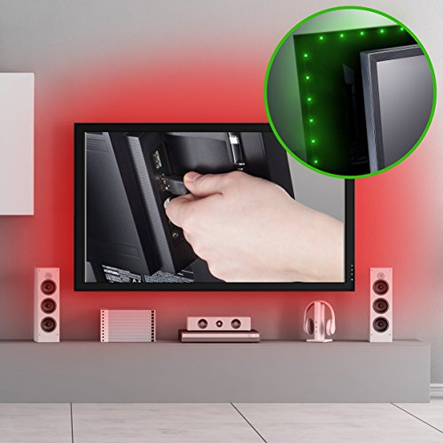 tv led beleuchtung led stripe led band dimmbar selbstklebend 2m 48x rgb usb fernbedienung. Black Bedroom Furniture Sets. Home Design Ideas