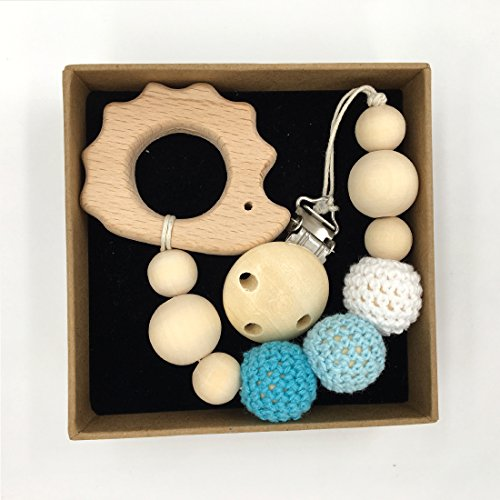 Coskiss Tettarella del clip di legno degli animali Teether Eco-friendly dentizione Beads Crochet Chew cartella con i capezzoli a forma di Rattle regalo di Natale (Color 4)