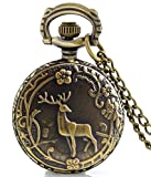 #8: LMP3Creation Classic Vintage Retro Antique Bronze Finish Deer In Forest Quartz Pocket Watch - Unisex Chain Necklace Watch (POW-0193)