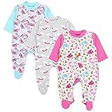 TupTam Baby Mädchen Schlafstrampler mit Fuß 3er Pack, Farbe: Farbenmix 3, Größe: 68