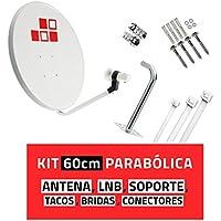Kit Parabólica 60cm + LNB + Soporte + Tacos a pared + Conectores + 10x Bridas