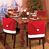 The Purple Tree Cute Christmas Chair Covers (Red and White) - Set of 6 Dinning Chair Cover, Santa Hat Chair Covers…