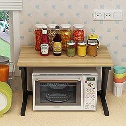 Minmin-zhenggaojia Support de Cuisine Four à Micro-Ondes Support de Rangement Domestique à Double Couche Support de Plancher à Plusieurs Couches en Acier Inoxydable (Couleur : C)