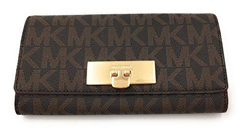 Michael Kors Damen Geldbörse, braun, 3x10x20 cm, Echtes Leder, CALLIE, Verschluß-Logoschnalle