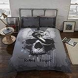 Rebel Heart Bettwäsche Bettbezug und Kissenbezüge Set Gothic Totenkopf, Grau, Single