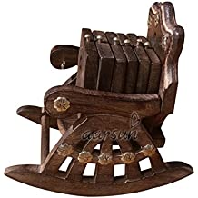 Aarsun Wooden Coaster Set of 6   Rocking Chair Shaped Coaster Set   Antique Gift Item