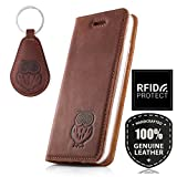 SURAZO Eule Smart Magnet RFID - Premium Vintage Ledertasche Schutzhülle Wallet Case aus Echtesleder Nubukleder Farbe Nussbraun für Huawei P10 Lite (5,20 Zoll)