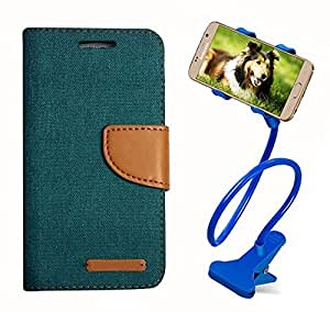 Aart Fancy Wallet Dairy Jeans Flip Case Cover for HTC826 (Green) + 360 Rotating Bed Moblie Phone Holder Universal Car Holder Stand Lazy Bed Desktop by Aart store.