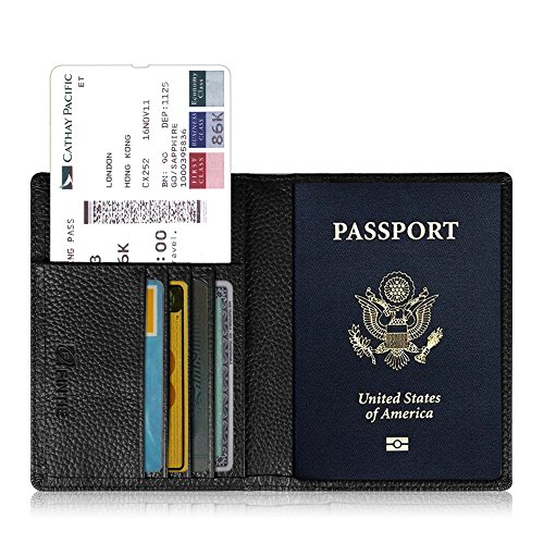 Fintie protège Passeport Housse - Voyage Protecteur Portefeuille Pochette étui de Protection pour Passeport, Documents, Noir