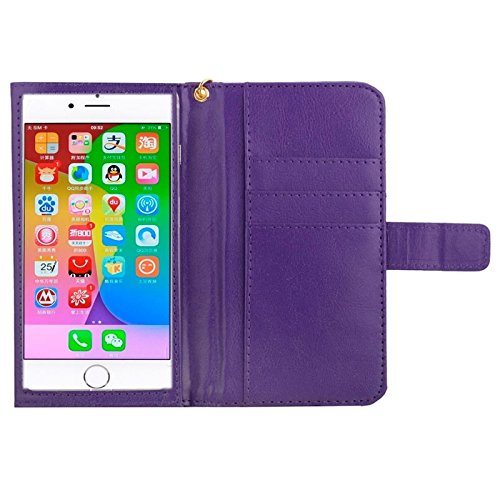 wkae Schutzhülle Case & Cover 12,7cm Universal Crazy Horse Textur tragen Fällen mit Touchscreen & Kette & CardSlots für iPhone 6& 6S/6S/5/5S/5C/Sony Xperia E4/M4Aqua violett