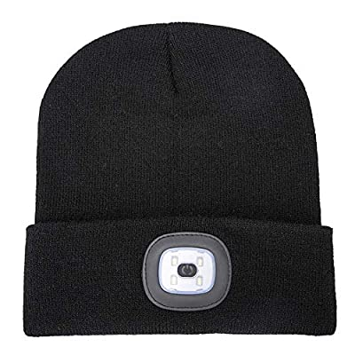 ATNKE LED Lighted Beanie Cap, USB Rechargeable Running Hat Ultra Bright 4 LED Waterproof Light Lamp and Flashing Alarm Headlamp Multi-Color by ATNKE