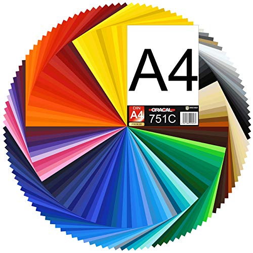 (15,87€/m²) DIN A4 Bogen 30x21cm ORACAL 751C Plotterfolie Folie Vinyl autofolie (070m schwarz matt)