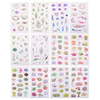 HonXins 12 Sheets Decorative Planner Stickers Cute Fresh Succulent Flower Leaves Plants Stickers Scrapbook Stickers for DIY Diary, Album, Journals, Gift Box, Card