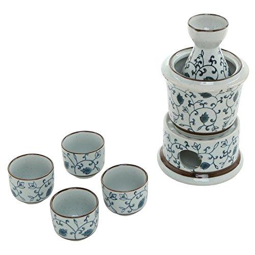 7-teilig blau Muster, weiß Keramik Japanische Hot Sake-Set mit Stövchen, 4Tassen, Karaffe & Heizung Topf Sake Set
