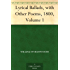 Lyrical Ballads, with Other Poems, 1800, Volume 1 (English Edition)