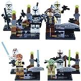 8 minifiguras de Star Wars - Compatible con LEGO – Incluye Obi Wan Kenobi, Han Solo, Maestro Yoda y 5 personajes más
