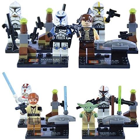 8 minifiguras de Star Wars - Compatible con LEGO – Incluye Obi Wan Kenobi, Han Solo, Maestro Yoda y 5 personajes