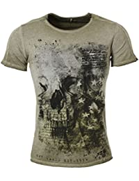 Key Largo Herren T-Shirt Washington Totenkopf Skull Print Motiv Vintage  Look Tiefer Rundhals Ausschnitt 987e6af181