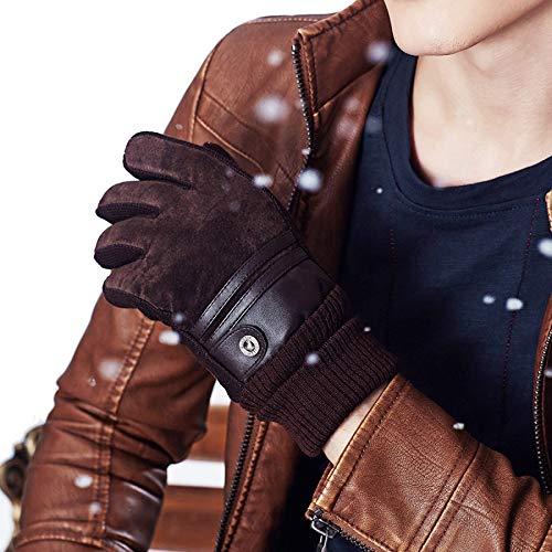 Yiwango uomo donna guanti invernali caldi guanti antivento impermeabili paio guanti da equitazione in pelle,men-brown