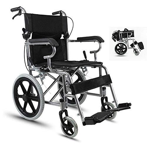 BTHDPP Aluminium Tragbarer Faltender Manueller Rollstuhl Aluminiumlegierungsrollstuhl älterer Untauglicher Handstoßroller,Black