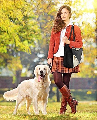 LeahWard® Femme Élégance Gret / Plus detaille Sacs Épaule Femme Tote Styliste Sac Shopper Sacs À Main 00405-Noir/Blanc (37x14.5x30cm)