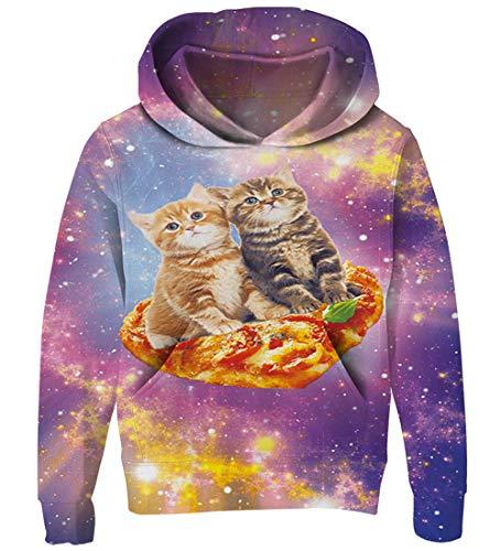Goodstoworld Hoodie Pullover Mädchen Kinder Jungen Pizza Katze 3D Kapuzenpullover Coole Lange Ärmel Kapuzenshirt Sweatshirt Kind Hooded Fleece-sweatshirt