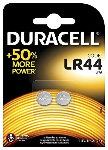 Duracell Specialty LR44 Alkali-Knopfzelle 1,5V, 2er-Packung (76A/A76/V13GA) entwickelt für die Verwendung in Spielsachen, Taschenrechnern und Messgeräten.
