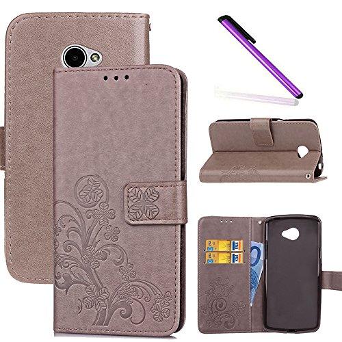 COTDINFOR LG K5 Hülle für Mädchen Elegant Retro Premium PU Lederhülle Handy Tasche im Bookstyle mit Magnet Standfunktion Schutz Etui für LG K5 Clover Gray SD