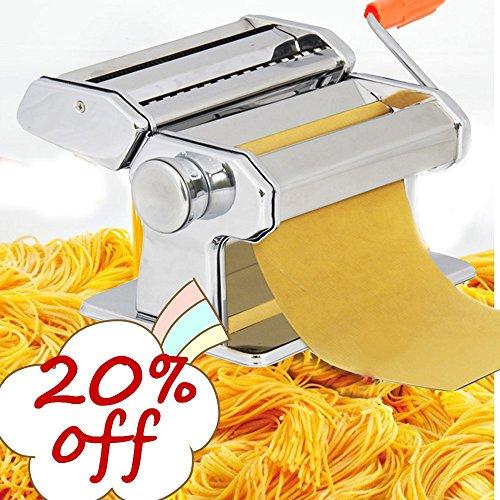 Qulista Nudelmaschine Edelstahl Pasta Maker mit 2 Nudel-Aufsätzen, Well- und Knetewalzen Pastamaker für Spaghetti Lasagne Edelstahl Dicke 0.5-3mm