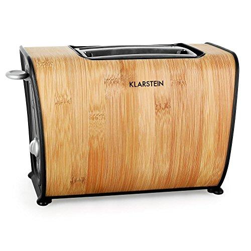 Klarstein Bamboo Garden Toaster 2-Scheiben-Toaster Doppelschlitz-Toaster für 2 Scheiben Auftau-Funktion Aufwärm-Funktion 6 Bräunungsstufen Design-Gehäuse echter Bambus 870 Watt blaue LED-Beleuchtung Krümelschublade bambus