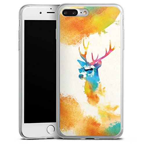 Apple iPhone 8 Plus Slim Case Silikon Hülle Schutzhülle Hipster Hirsch Sonnenbrille Silikon Slim Case transparent