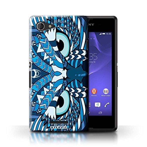 Kobalt® Imprimé Etui / Coque pour Sony Xperia E3 / Loup-Vert conception / Série Motif Animaux Aztec Hibou-Bleu